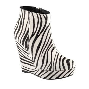 Aldo Miggins Elevated Platform Booties in Zebra